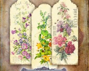 8 Floral Postcard Bookmarks Set 1