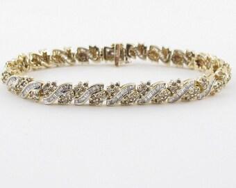 14K Yellow Gold Diamond Tennis Bracelet 7 1/4 Inches 3.00 carats