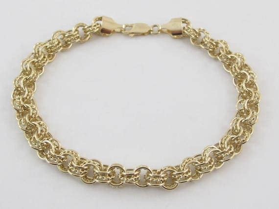 Rolo Link Charm Bracelet 14k Yellow Gold 7 1/2 Inches 5.80 grams