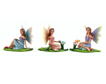 Fairy Garden  - Sun Kissed Fairies on Leaf- Set of 3 - Miniature