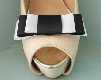 Handmade Black & White Triple Bow Shoe Clips - other colours on request