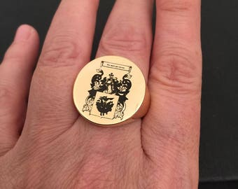 Family Crest ring, Personalized Ring, Signet Ring, college ring, Crest engrave ring, graduation ring, round seal ring, Gold ring