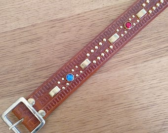 "Brown leather rockabilly studded western belt ""jambalaya"""