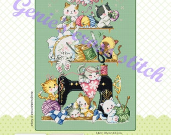 Sewing Cats - cross stitch pattern or kit. SODAstitch SO-G122