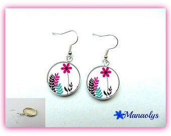 Earrings studs glass pink flowers on white background 974