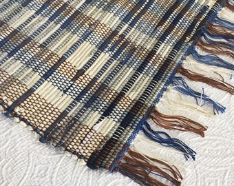 Blue & Grey Rag Rug | Handwoven Rug, | Throw Rug | Floor Covering
