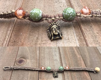 Indian head hemp bracelet 7&1/2 inches