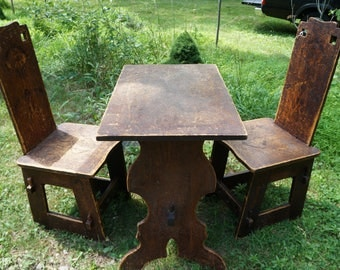 Antique Pyrography Arts and Crafts Table and Chairs