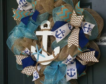 Summer Door Wreath, Nautical Wreath, Front Door Wreath, Seaside Door Wreath,  Beach House Front Door Wreath, Coastal Decor
