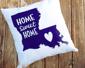 Louisiana Home Sweet Home Throw Pillow