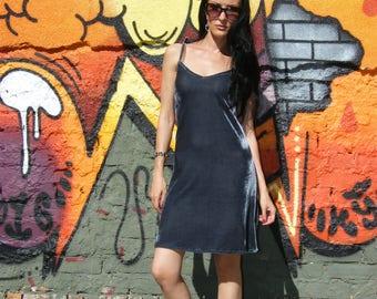 Dark Silver or Black Velvet Mini Little Dress