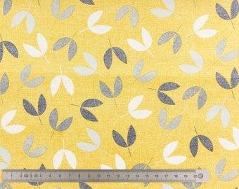 "20cm fabric cotton dashwood ""bird watching"" mustard yellow"