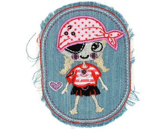 Applied, badge, patch Thermo jeans pirate girl
