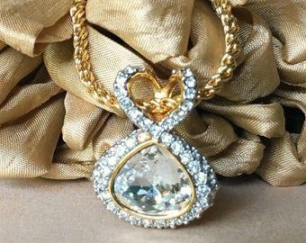 SALE Stunning Vintage Swarovski Clear Crystal Pendant Necklace, Swarovski Signed Gold Tone Rhinestone Drop Necklace, Designer Necklace