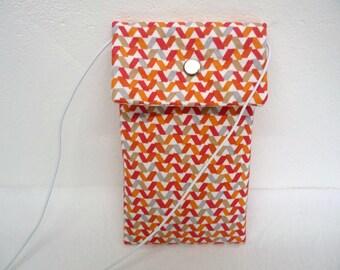 Retro fabric phone pouch, smartphone case cross body phone accessories