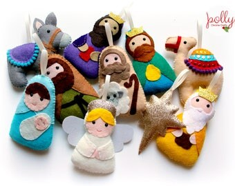 Make Your Own felt Nativity Garland Kit, Christmas garland, felt garland, Christmas ornament, craft kit, Nativity set, felt decoration