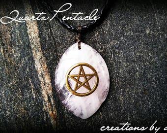 Rose Quartz Pentacle Necklace, Bronze Gemstone Pendant, Quartz, Birthstone, Pagan, New Age, Metaphysical