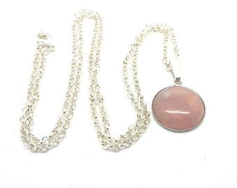 Collier mi long cabochon 25mm quartz pink