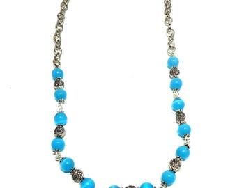 Collier mi long blue cat eye beads