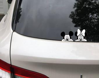 Mickey and Minnie Mouse Peeking Disney Car Decal