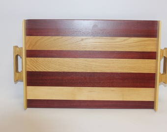 25 Wide handled striped serving tray