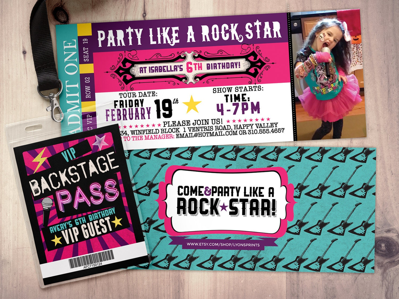 ROCK STAR concert ticket birthday party invitation Music – Karaoke Party Invitation