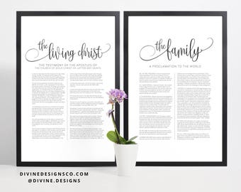 BOTH The Family Proclamation to the World AND The Living Christ Matching Print or Printable - LDS Wall Decor