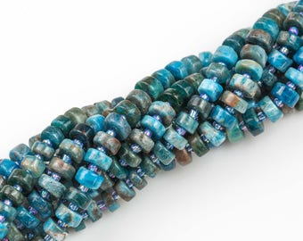 """Apatite- Heishi Shape- High Quality- 8-9 or 9-10mm- Full Strand 16"""" - 60 Pieces"""