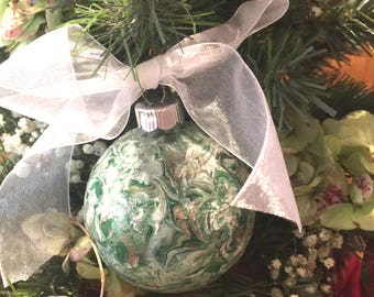 Marble  Painted Green and  White   Glass Christmas Holiday  Ornament Ribbon Babies Breath