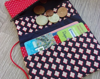 """Coin purse/wallet """"Sabine"""". Colors Navy Blue and red, fabric patterns and polka dots, trendy, chic and practical"""