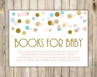 Confetti BOOKS for Baby, Book Request, Bring a Book, Pink Blue Gold Polka Dots, Books For Babies, Baby Shower Ideas, Instant Download