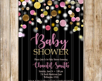 Pink Gold Baby Shower Invitation, Girl Baby Shower Invites, Confetti Couples Shower Invite, Baby Girl Shower, Baby Announcement, Pregnancy