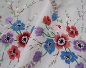 Vintage Linen Square Tablecloth With Hand Embroidered Anemones. White Linen Tablecloth With Spring Flowers. Perfect For An Easter Tea Party
