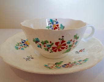 Victorian Antique Teacup. White Tea Cup and Saucer Entirely Hand Painted With Flowers. Rare Tea Party Tea Set. Perfect As A Tea For One Gift