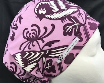 Purple Chirp LoveNstitchies Surgical Cap Scrub Hats for Women Nurse Euro Caps OR Scrub Tech Hat Surgery First Assist Chef PA Birds