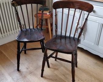 Victorian farmhouse chairs. Pair chairs. Antique chairs. Vintage chairs. Wooden chairs. Old chairs. (1529)