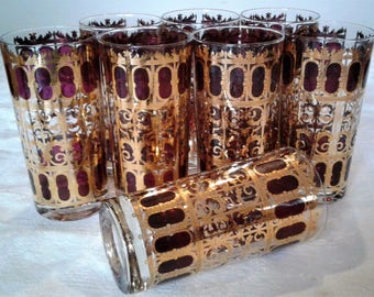 Vintage Culver Cranberry Scroll Highball Glasses With Heavy 22k. Gold Trim