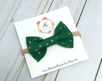 Christmas nylon headband - christmas bow - star bow - green bow - holiday bow - baby girl headbands - baby hair bows - nylon headbands - bow