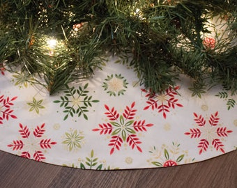 Christmas Tree Skirt-Snowflake Tree Skirt-Tree Skirt-Holiday Decor-Snow-Winter Decoration-Christmas Tree-Christmas Decoration-48-50""