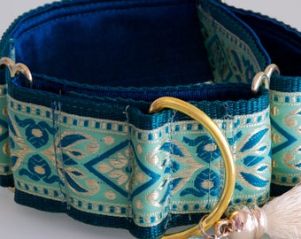 SEAMIST  - Green and Gold Jacquard 5 cm Martingale Dog Collar with Tassel & Greyhound Pendant