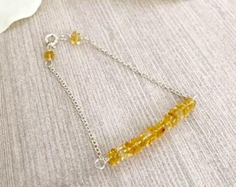 Dainty Citrine Sterling Silver Bar Bracelet, Healing Bracelet, Heishi Beaded Bracelet, Bar Bracelets, Gifts for Her, Gemstone Bracelet