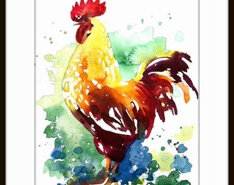 Rooster Art Chicken - Watercolor Painting Art Print  - Fall home decor and wall art 118