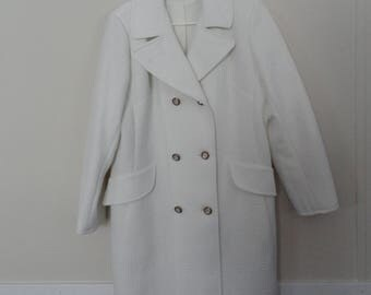 Beautiful Vintage Jackie O White Spring Summer 3/4 Coat sz L -XL
