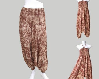 SALE 20% off and Free Gift !!! ** Harem Jumpsuit Brown Tie Dye Print Harem Pants Aladin Boho Hippie Party Wear