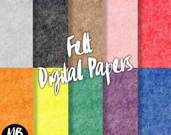 FELT papers, printable pdf, digital felt, digital texture, pink, yellow, green, purple, blue, red, digital paper pack,  INSTANT DOWNLOAD