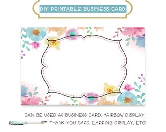 Diy blank business card template girly arrow made to match diy blank business card template watercolor floral diy business card template business card reheart Image collections