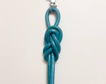 Aqua leather sailors knot key fob/bag charm.