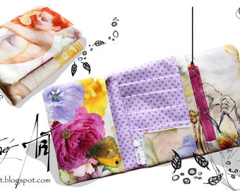 Fabric wallet - Pinup pin up Vintage Rockabilly purple dots