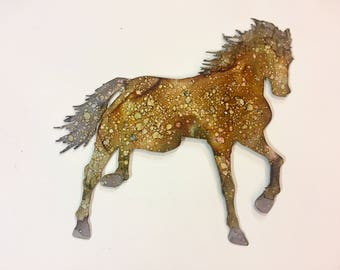 Hand Painted metal horse