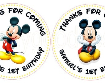 Mickey Mouse Birthday Party Stickers, Printed personalized stickers. Mickey Baby Shower Stickers, Birthday Party, 1st Birthday - Set of 14